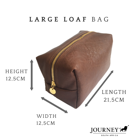 Genuine Leather Large Loaf Toiletry bag. Proudly handcrafted in South Africa by Journey Leather.