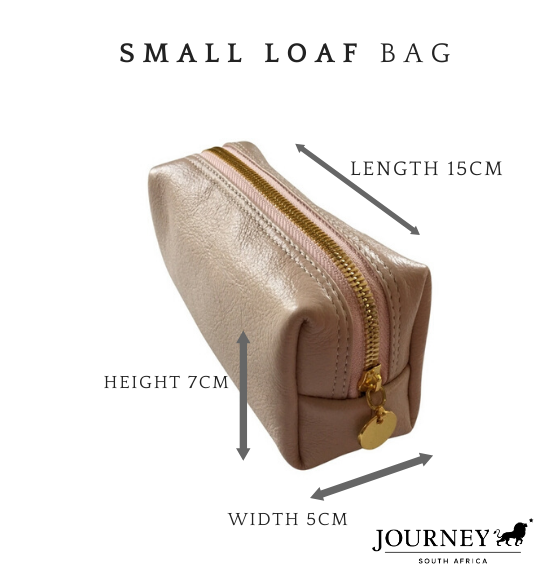 Genuine Leather Small Loaf Cosmetics bag. Proudly handcrafted in South Africa by Journey Leather.