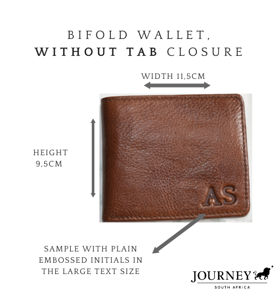 Genuine Leather Bifold wallet. Proudly handcrafted in South Africa by Journey Leather.