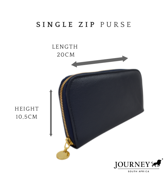 Genuine Leather Ladies Single Zip Purse. Proudly handcrafted in South Africa by Journey Leather