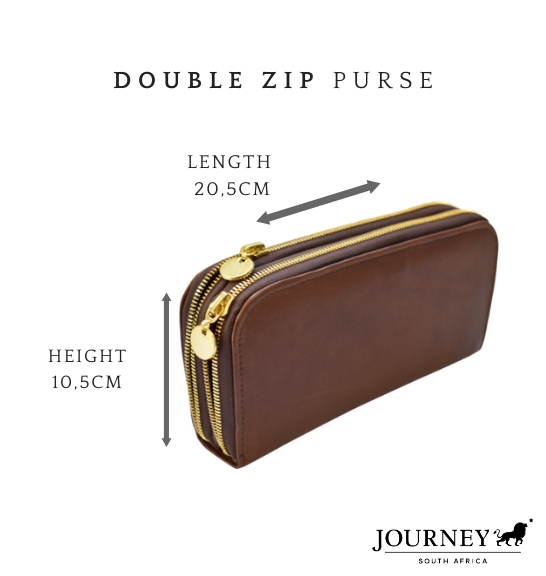 Genuine Leather Ladies Double Zip Purse. Proudly handcrafted in South Africa by Journey Leather