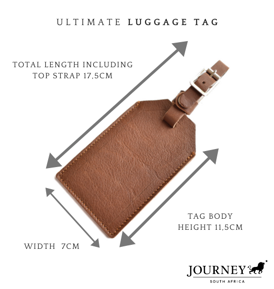 Genuine leather Luggage Tag. Proudly handcrafted in South Africa by Journey Leather. Available with branding or monogram.