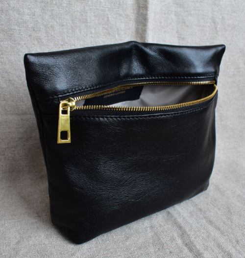 Genuine Leather Black and Gold Medium Holdall Toiletry/Cosmetic Bags- Made in South Africa