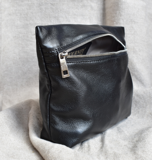 Genuine Leather Black and Silver Medium Holdall Toiletry/Cosmetic Bags- Made in South Africa