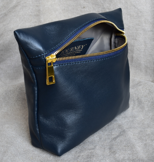 Genuine Leather Navy and Gold Medium Holdall Toiletry/Cosmetic Bags- Made in South Africa