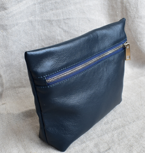 Genuine Leather Navy and Silver Medium Holdall Toiletry Cosmetic Bags- Made in South Africa5
