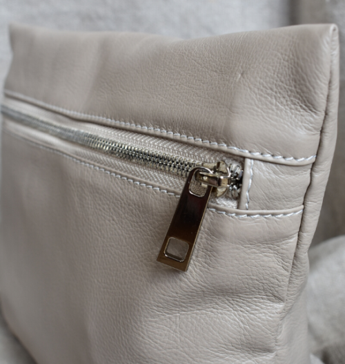 Genuine Leather Taupe and Silver Medium Holdall Toiletry:Cosmetic Bags- Made in South Africa2
