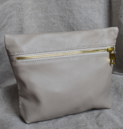 Genuine Leather Taupe and Gold Medium Holdall Toiletry/Cosmetic Bags- Made in South Africa