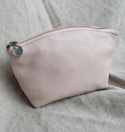 Genuine Leather Pink and Silver Make Up: Toiletry:Cosmetic Bags- Made in South Africa
