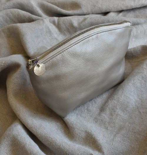 Genuine Leather Shimmer Luna Makeup Bag with Silver trim Made in South Africa