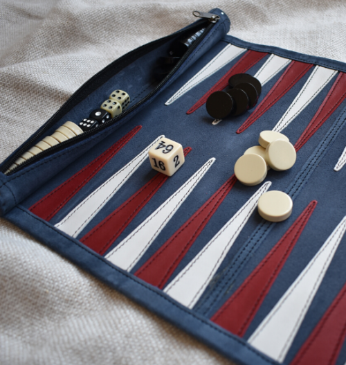 Genuine Leather Backgammon Roll up Set