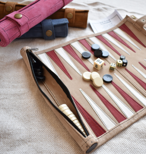 Genuine Leather Backgammon Roll up Set - Proudly Made in South Africa