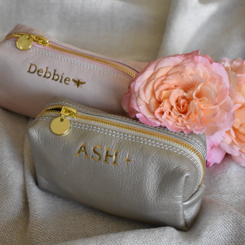 Genuine Leather Shimmery Gold Small Loaf Cosmetic:Pencil Bag -Made in South Africa with personalisation98