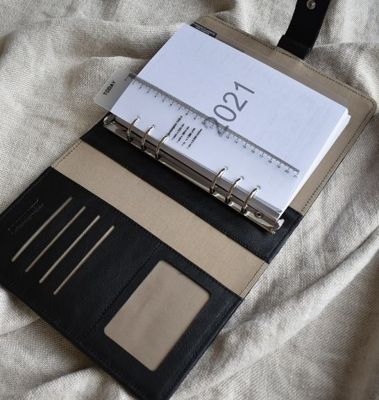 Genuine Leather Black Blue Organiser Planner Made in South Africa with personalisation31