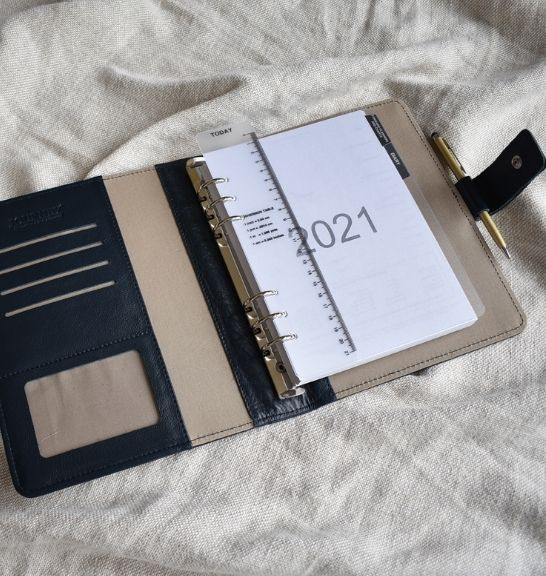 Genuine Leather Black Blue Organiser Planner Made in South Africa with personalisation