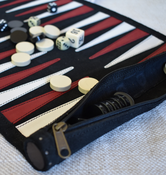 Black Roll Up Backgammon set- Genuine leather Made in South Africa