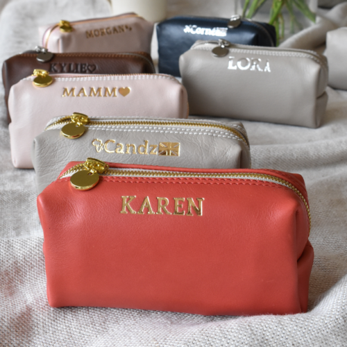 Genuine Leather Scarlett Red Small Loaf Cosmetic:Pencil Bag -Made in South Africa with personalisation