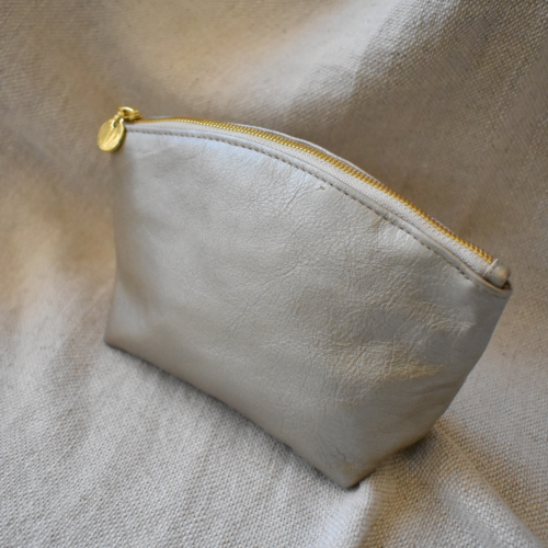 Genuine Leather Shimmer Gold Makeup Bag with personalisation