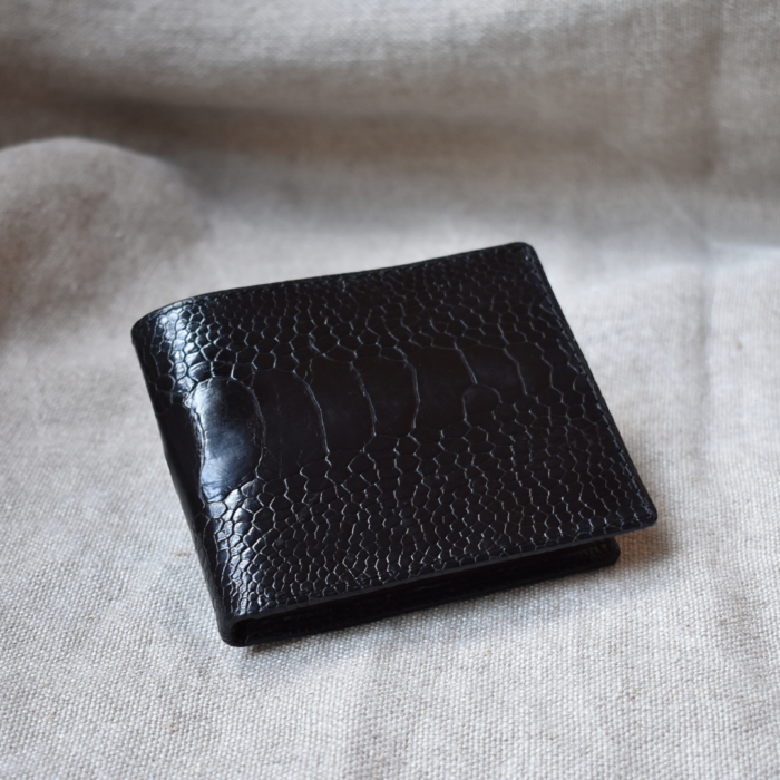 Journey Leather- Genuine Ostrich Leather- Classic Bi-fold Wallet with Card Flap -Made To Order In South Africa