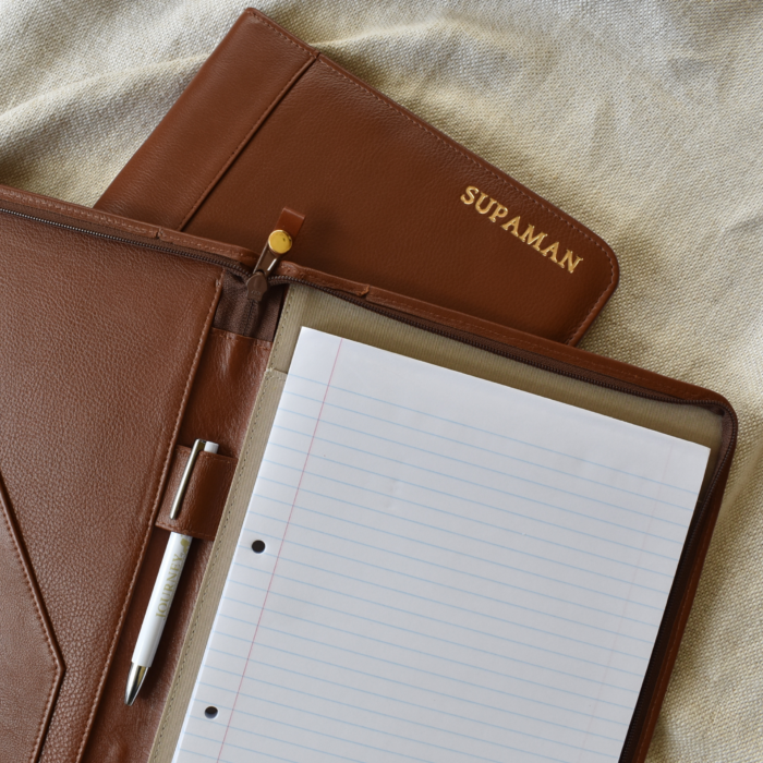 Genuine Leather A4 Sized Zipped Folio -Made in South Africa with personalisation46