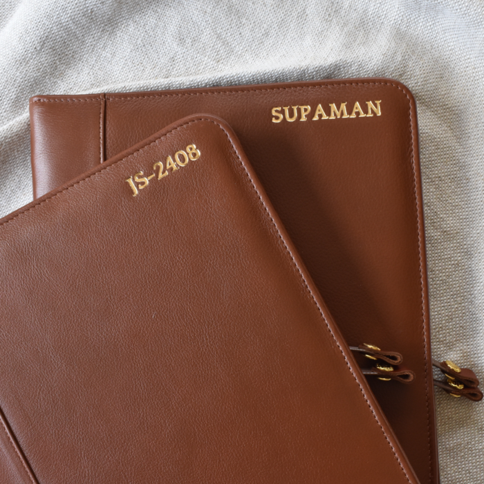 Genuine Leather A4 Sized Zipped Folio -Made in South Africa with personalisation