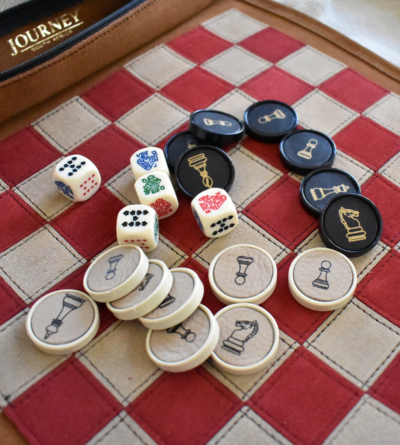 Roll- Up Chess & Checkers Set (With Poker Dice)