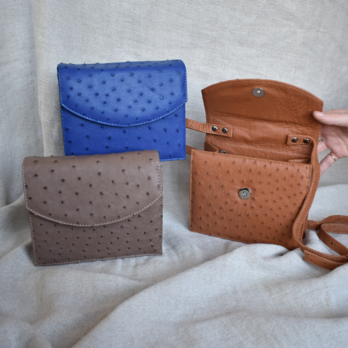Journey Leather- Genuine Ostrich Leather Anytime Mini Bag- Made To Order In South Africa