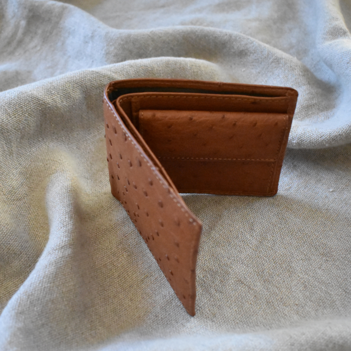 Journey Leather- Genuine Ostrich Leather- Classic Bi-fold with Coin Pocket -Made To Order In South Africa