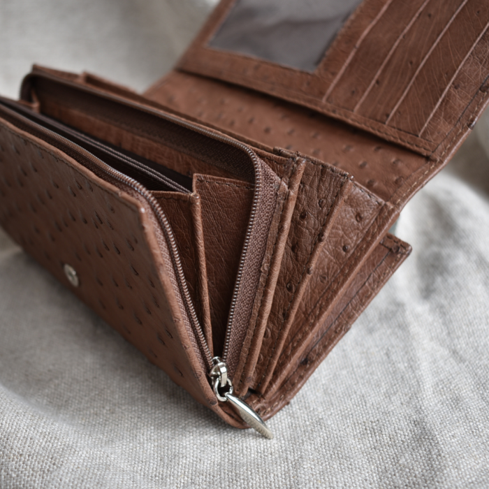 Journey Leather- Genuine Ostrich Leather Classic Ladies Purse with Card Fold- Made To Order In South Africa