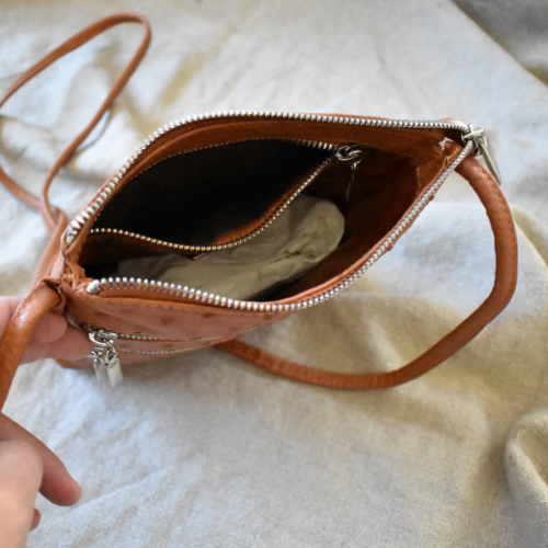 Journey Leather- Genuine Ostrich Leather Classic Mini Sling Crossbody Bag with Zip Detail- Made To Order In South Africa
