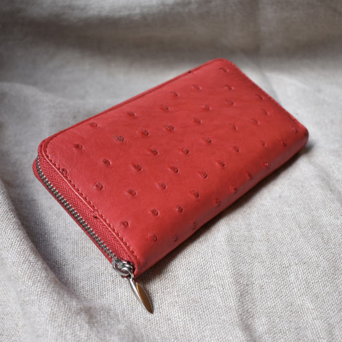 Journey Leather- Genuine Ostrich Leather- Classic Single Zip Purse -Made To Order In South Africa