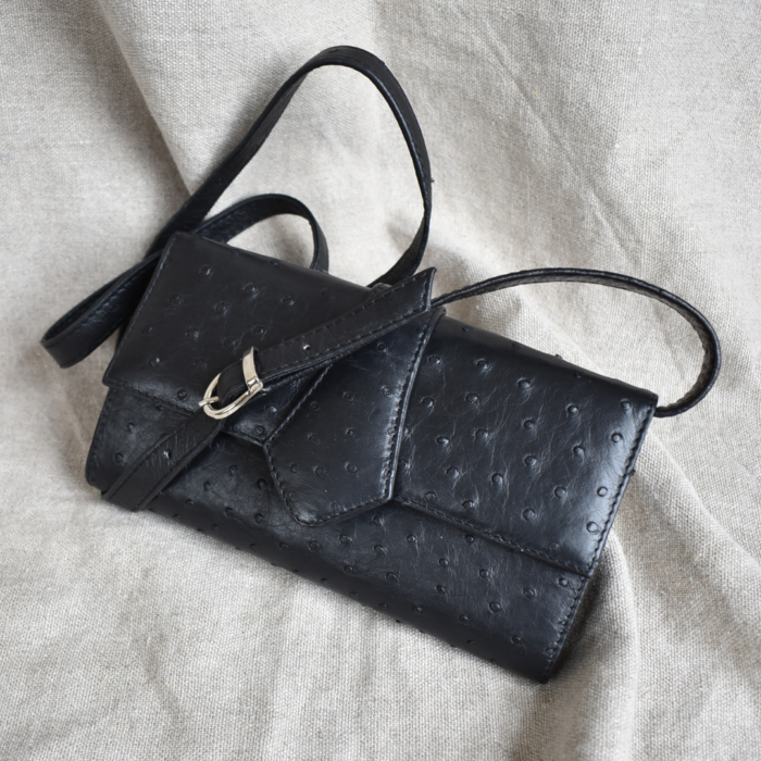 Journey Leather- Genuine Ostrich Leather Clutch Handbag with Point Detail- Made To Order In South Africa