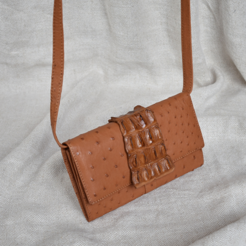 Journey Leather- Genuine Ostrich Leather Purse with Sling- Made To Order In South Africa