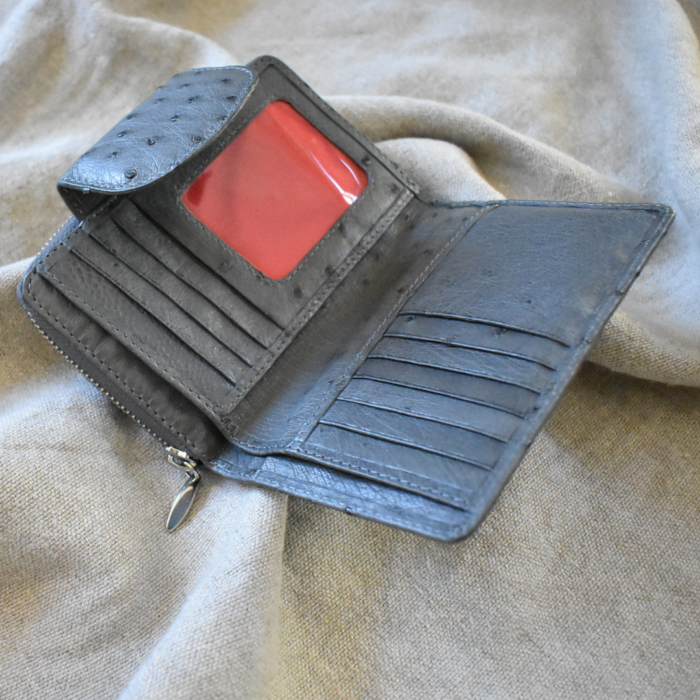 Journey Leather- Genuine Ostrich Leather Compact Ladies Purse- Made To Order In South Africa