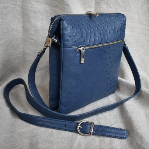 Journey Leather- Genuine Ostrich Leather Double Crossbody Handbag- Made To Order In South Africa