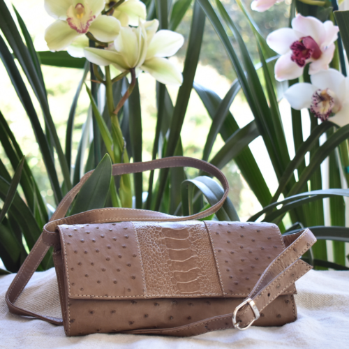 Journey Leather- Genuine Ostrich Leather Elegant Anytime Clutch Bag- Made To Order In South Africa