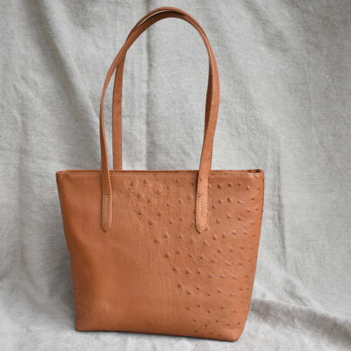 Journey Leather- Genuine Ostrich Leather Everyday Plush Tote Handbag- Made To Order In South Africa