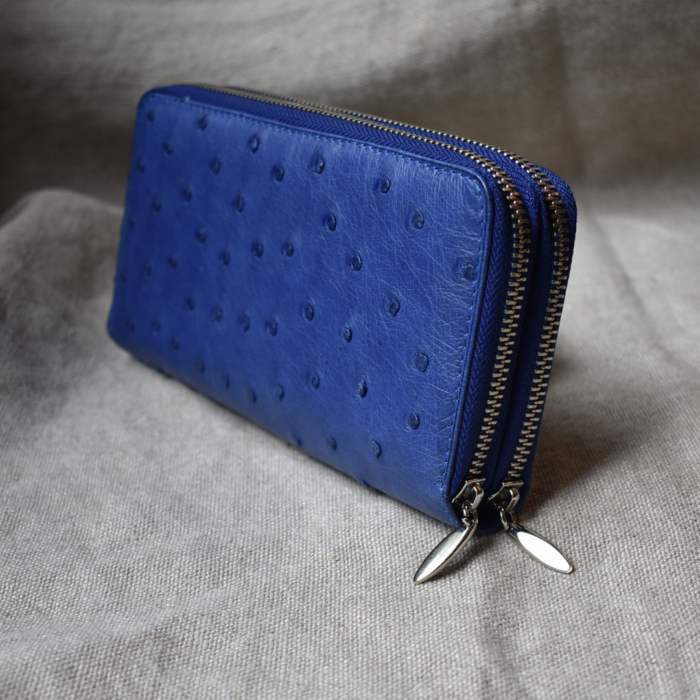 Journey Leather- Genuine Ostrich Leather Luxe Double Zip Purse -Made To Order In South Africa