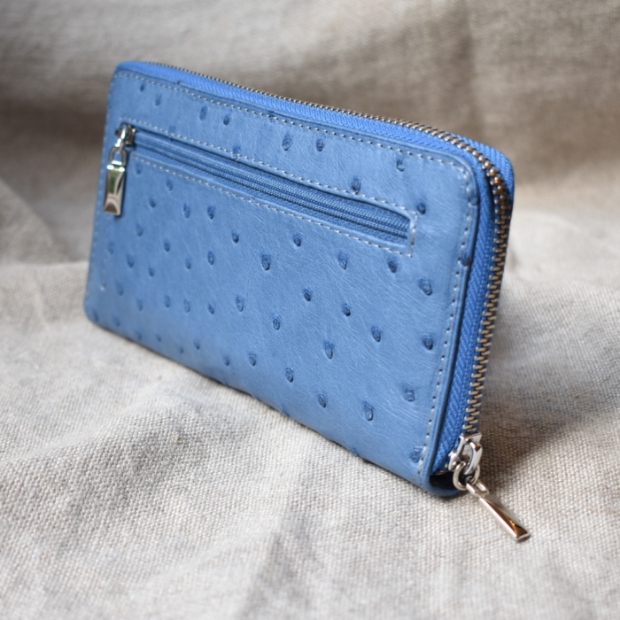 Journey Leather- Genuine Ostrich Leather Luxe Single Zip Purse with outer Zipped Coin Pocket - Made To Order In South Africa
