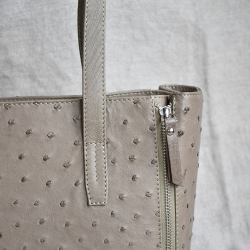 Journey Leather- Genuine Ostrich Leather Luxe Tote Handbag with Zip Detail- Made To Order In South Africa