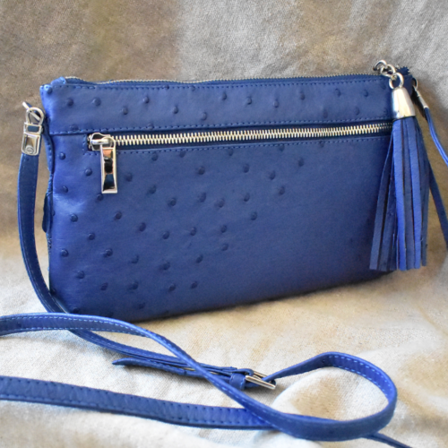 Journey Leather- Genuine Ostrich Leather Tassel Ladies Statement Handbag- Made To Order In South Africa