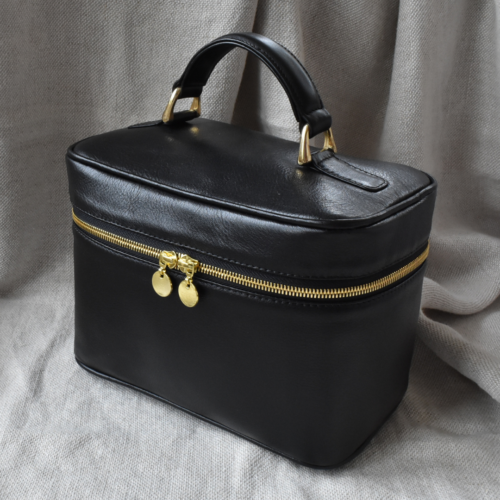 Classic Black Genuine Leather Vanity Case. Made in South Africa