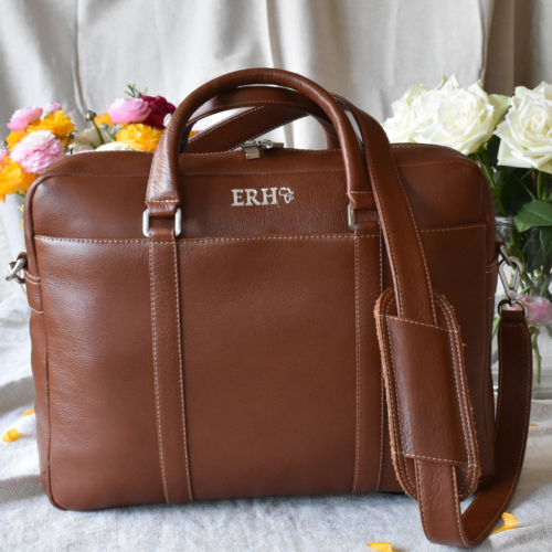Genuine Leather Butterscotch Brown Euro Laptop Bag -Made in South Africa with personalisation