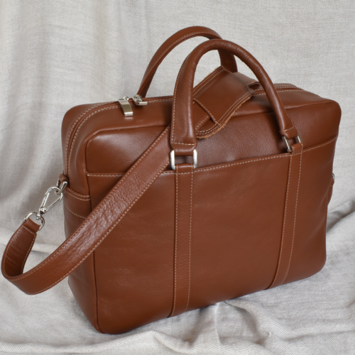 Genuine Leather Computer Bags- Made in South Africa with custom personalisation Butterscotch Brown