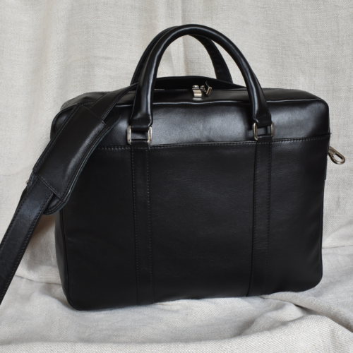 Genuine Leather Computer Bags- Made in South Africa with custom personalisation Classic Black