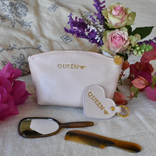 Genuine Leather Cosmetic Bag Gift Bundle- Made in South Africa with Personalisation Luna Bag and Heart Keyring