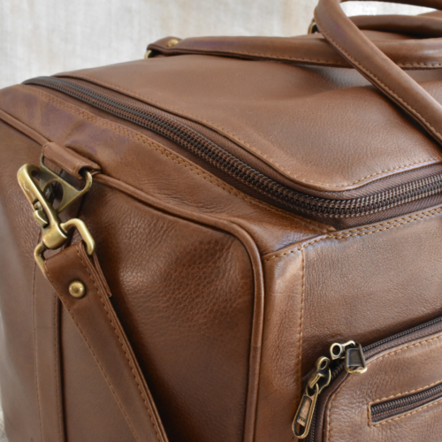 Genuine leather Travel Duffel Bag with Zip Details- Made in South Africa with personalisation