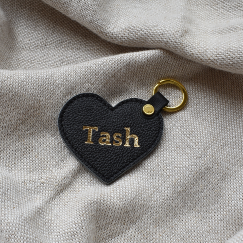 Classic Black Genuine Leather Heart Keyring with Gold embossed personalisation