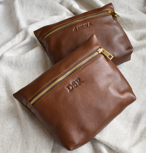 Genuine Leather Matching Medium Holdall Bag with Luggage Tag set- Made in South Africa with personalisation