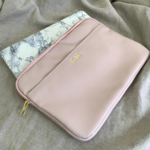 Genuine Leather Ballet Pink 13 inch Laptop or Macbook sleeve. Handcrafted in South Africa with personalisation